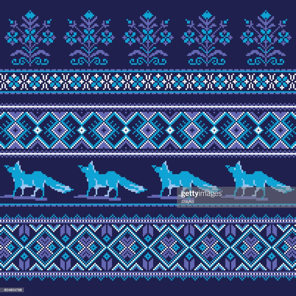 Set of Ethnic holiday ornament pattern in blue colors