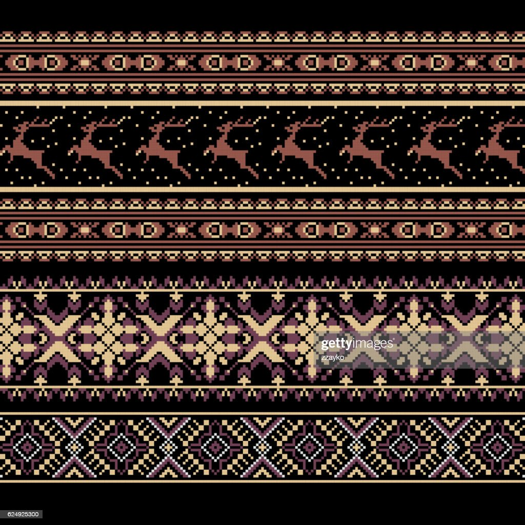 Set of Ethnic holiday ornament pattern in brown colors