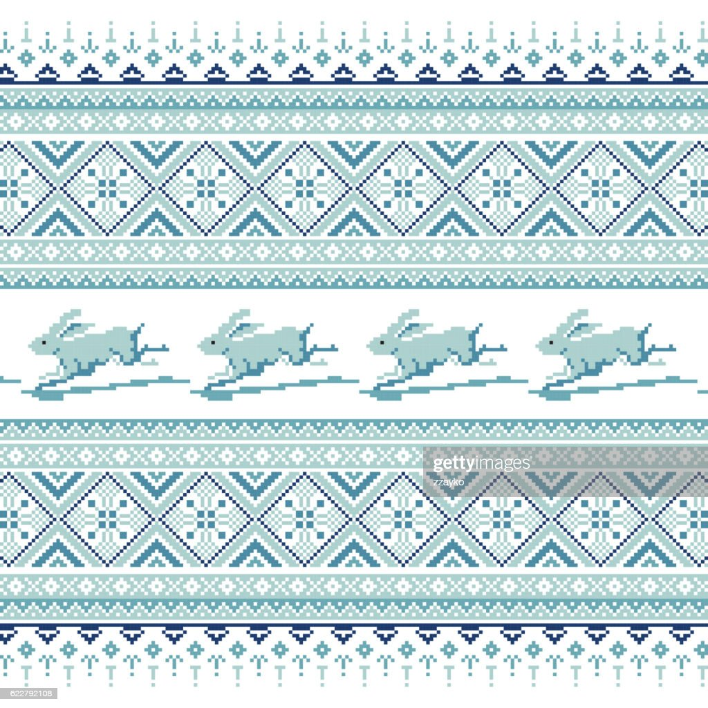 Set of Ethnic holiday ornament pattern in different colors