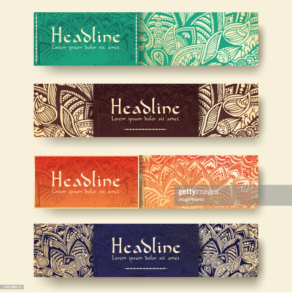 Set of ethnic ornament banners and flyer concept