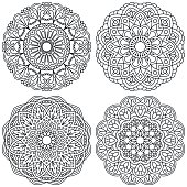 Set of ethnic round ornaments. Mandala