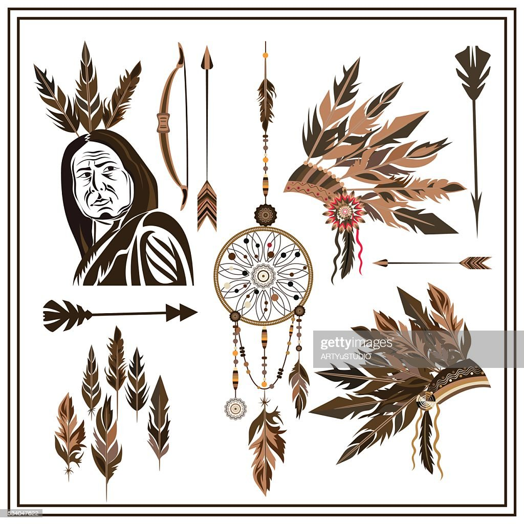 Set of ethnic style arrows, feathers, beads, bow
