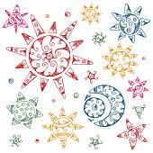 Set of Ethnic Symbols.  Hand drawn Sun, Moon,Crescent, Stars