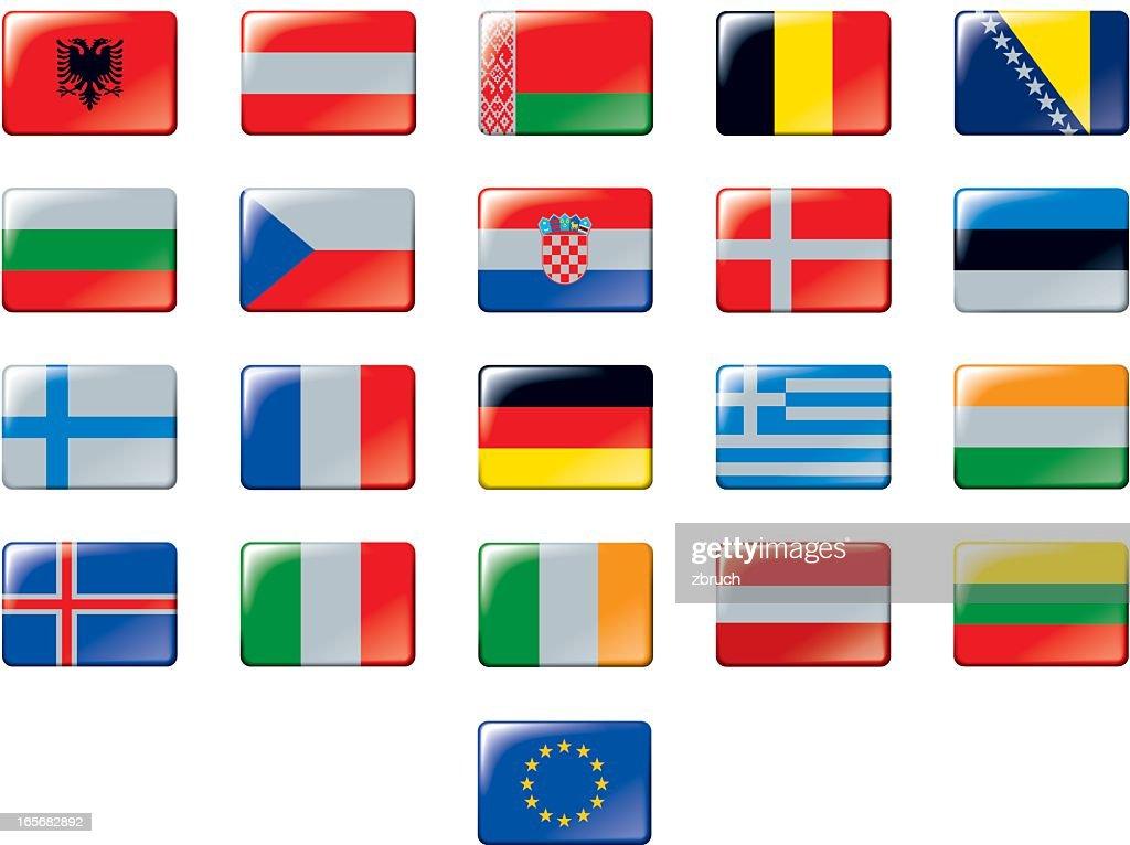 Set of European flags. Part 1/2