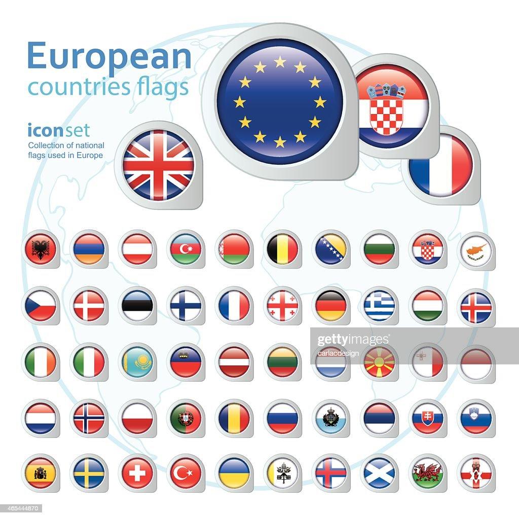 set of european flags, vector illustration