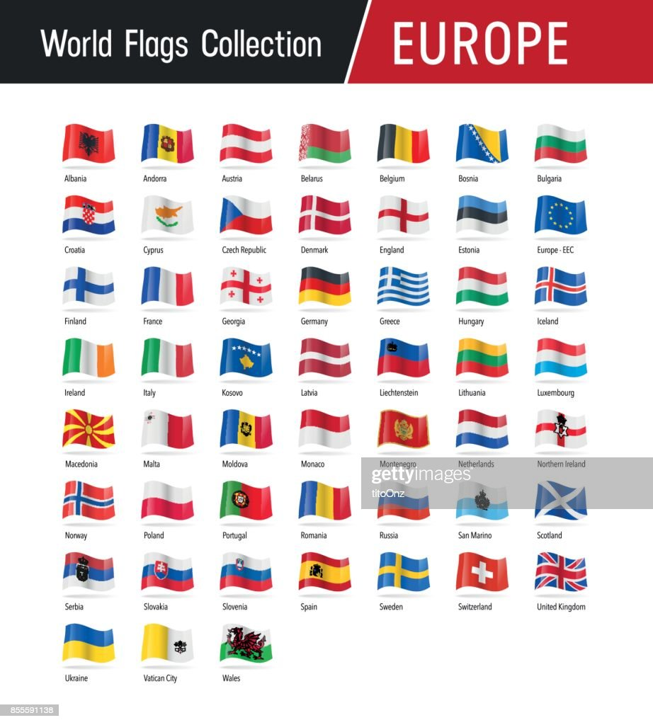 Set of European flags - Vector illustrations