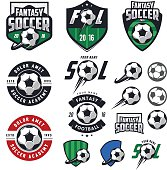 Set of European football, soccer labels, emblems and design elements