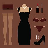 Set of evening clothes and accessories