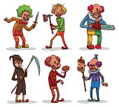 Set of evil clowns