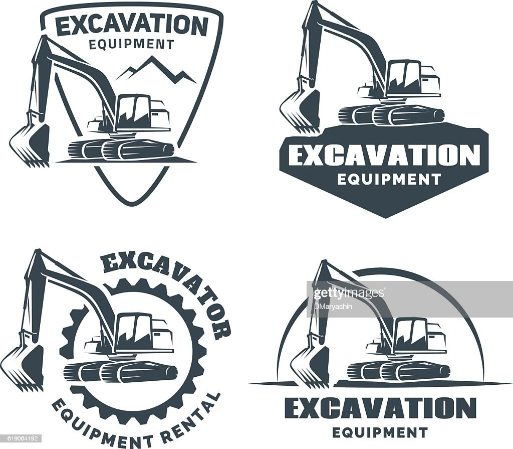 Set of excavator emblems and badges isolated on white background.