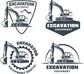 Set of excavator emblems and badges isolated on white background.