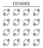 Set of exchange icons in modern thin line style.