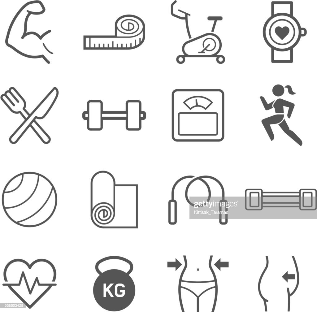 Set of exercise icons.