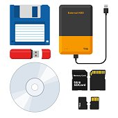 Set of external Storage media: Floppy disk, External hard disk drive, Flash drive USB memory stick, CD or DVD disk, SD and Micro SD memory card. Vector illustration