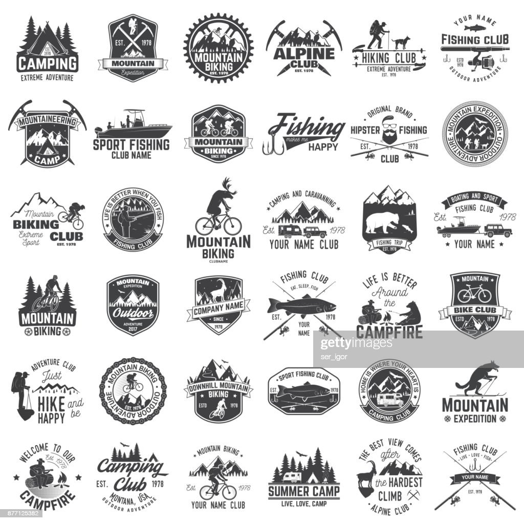 Set of extreme adventure badges.