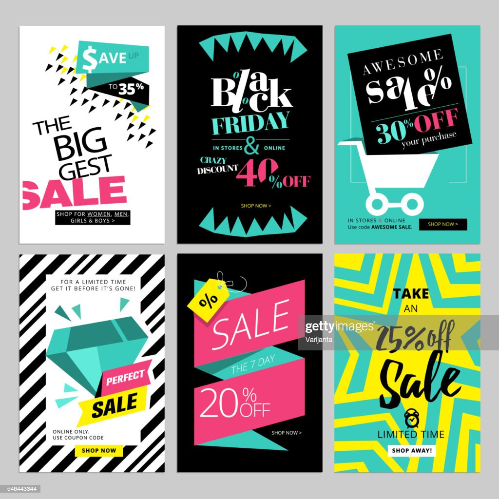 Set of eye catching web banners for shopping