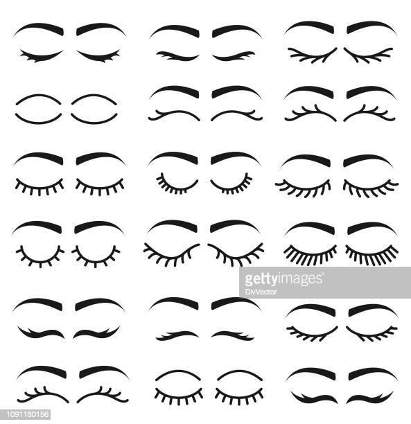 set of eyelashes - eyelash stock illustrations