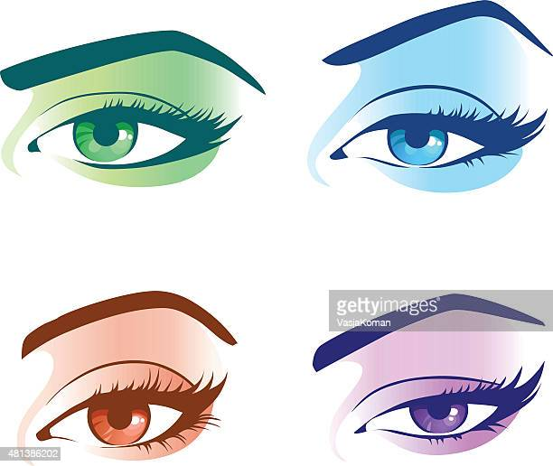 Set Of Eyes - Four Different Colors