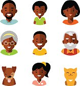 Set of family african american members avatars icons flat style