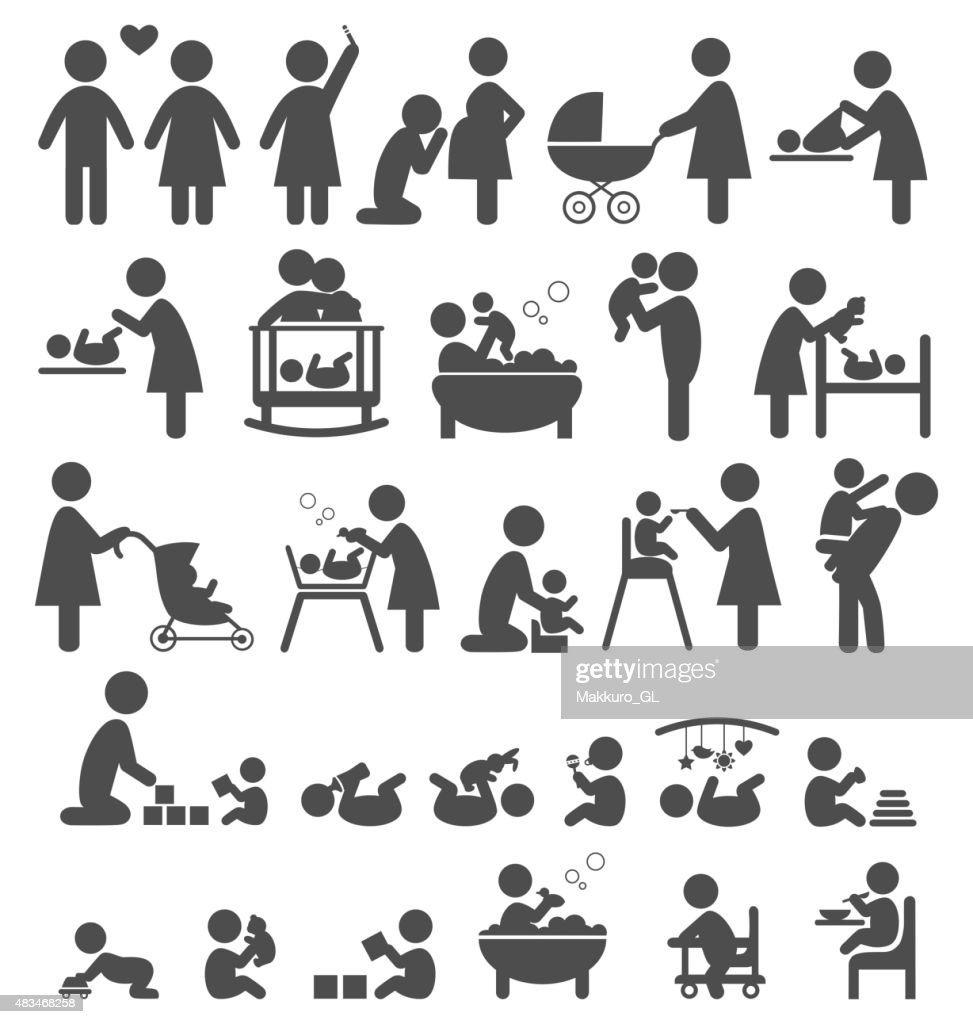 Set of family and baby pictograms icons isolated on white