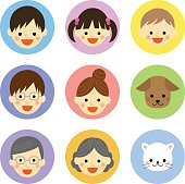Set of family and pet icons