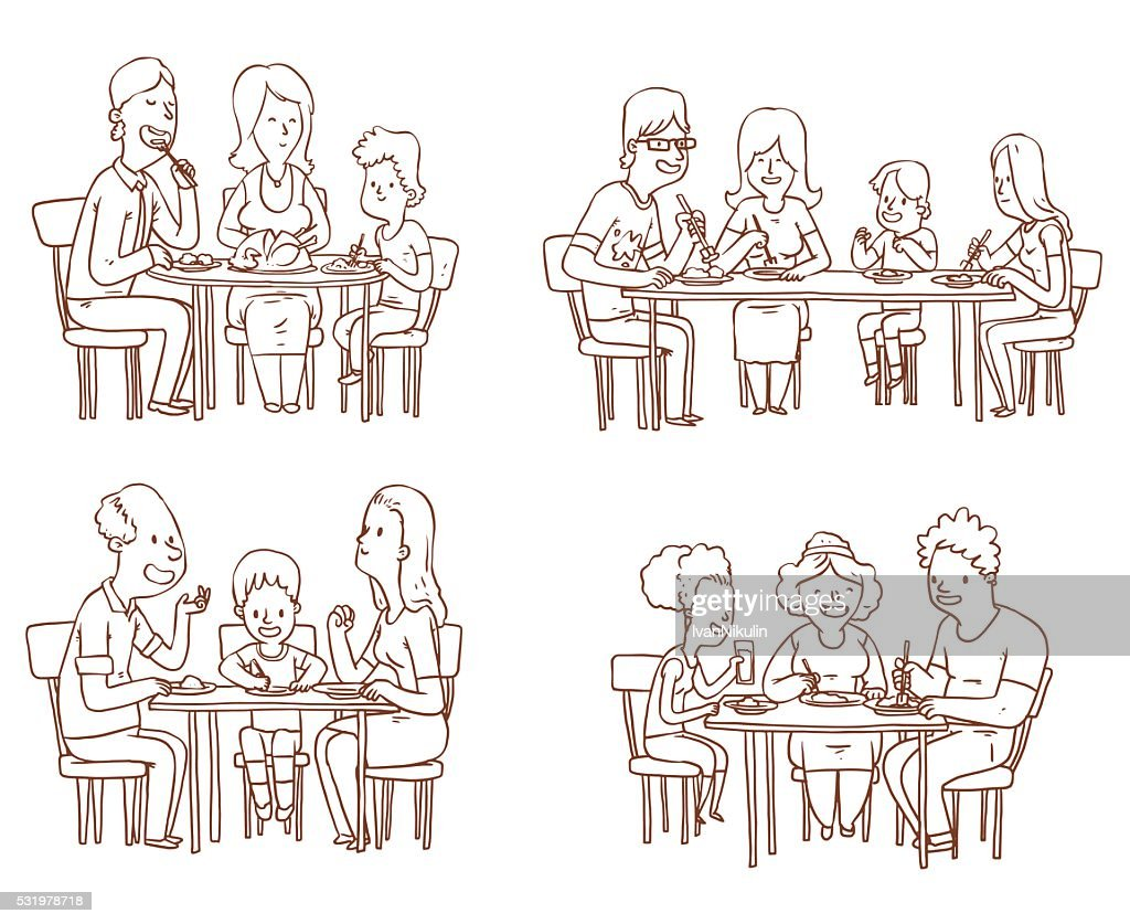 Set of family dinners, line style