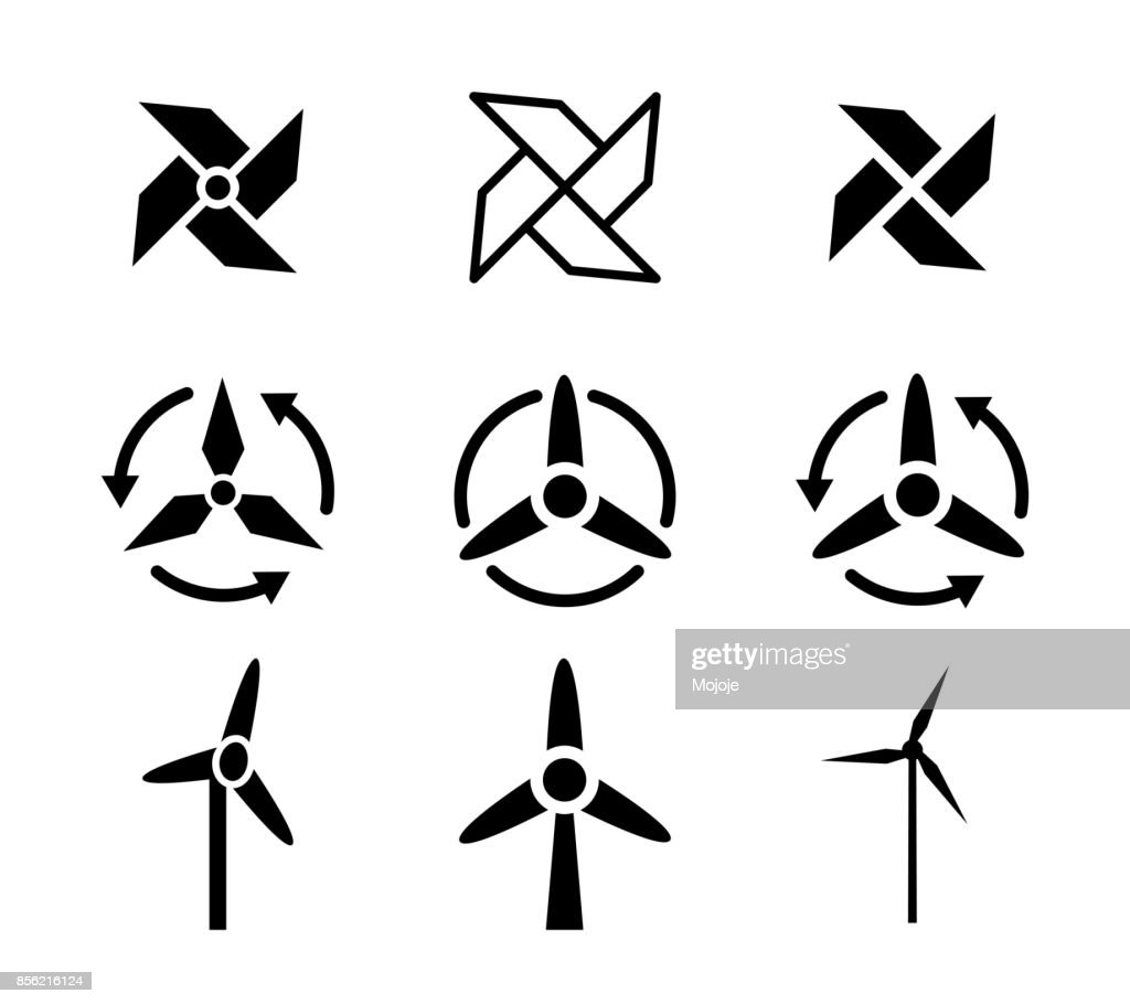 Set of fan and Wind energy icons, vector