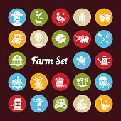 Set of farm agriculture flat design icons and pictograms