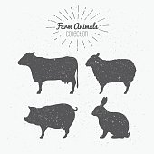 Set of farm animals. Cow, sheep, pig and rabbit silhouettes