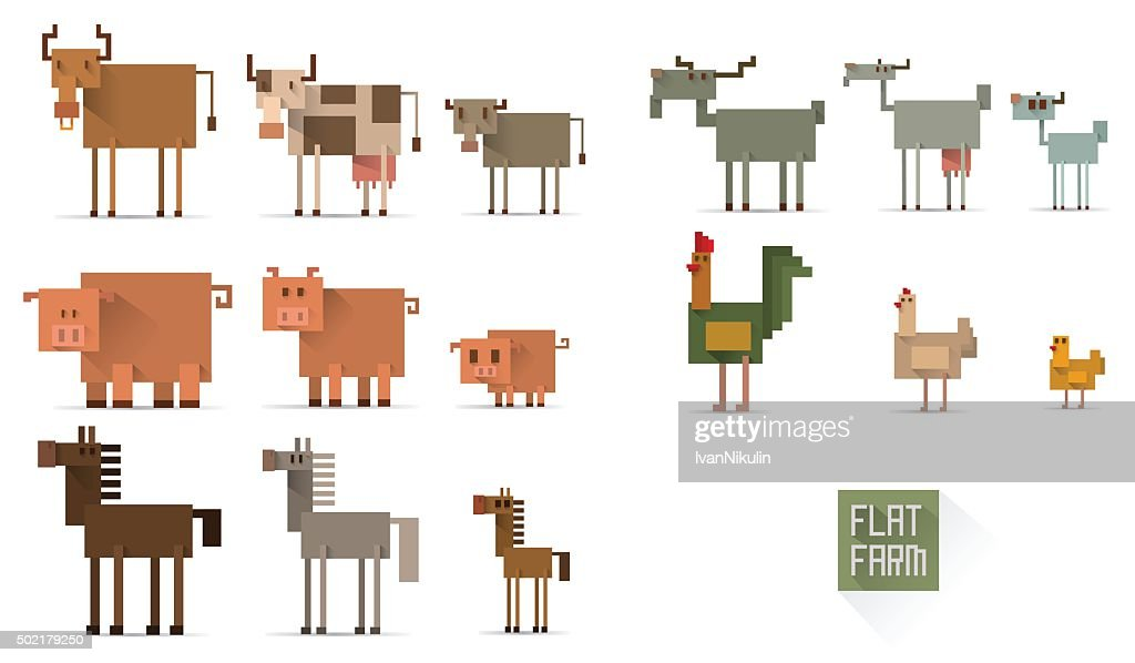 Set of farm animals in flat style
