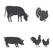 Set of farm animals isolated on the white. Vector illustration