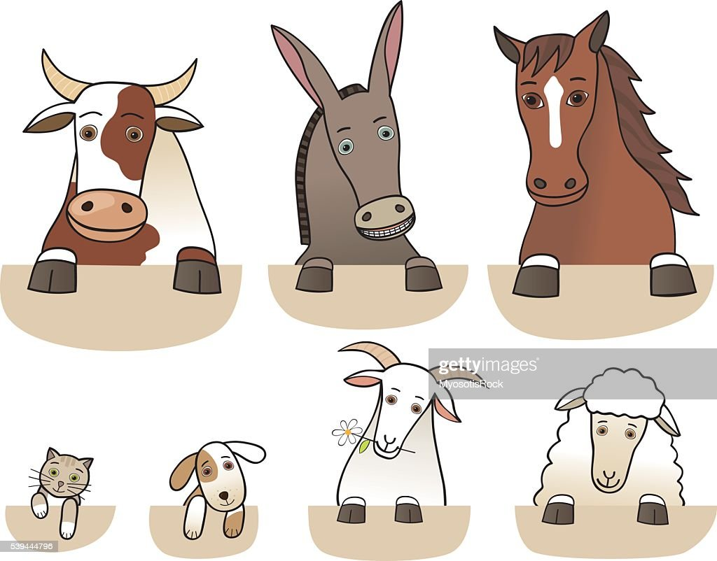 Set of farm animals torsos isolated