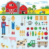 set of farm element ements. Vector illustration in flat style