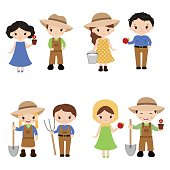 Set of farmer girls and boys