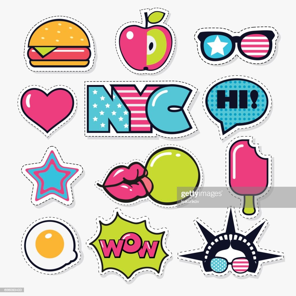 set of fashion american trendy color patches, stickers and pins