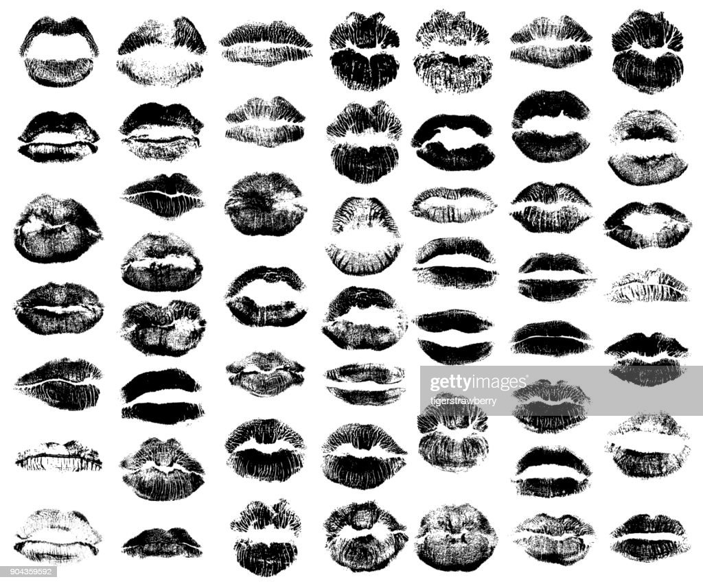 Set of fashion beauty women lips isolated on white background. Various shape sending kisses. Girls black lips close up. Collection of female mouth and fashionable lipstick. Vector.