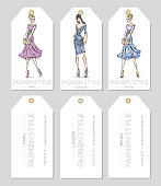 Set of fashion labels with beautiful women in sketch style, Paris, London, Milan business card, beauty girls hand drawn vector illustration