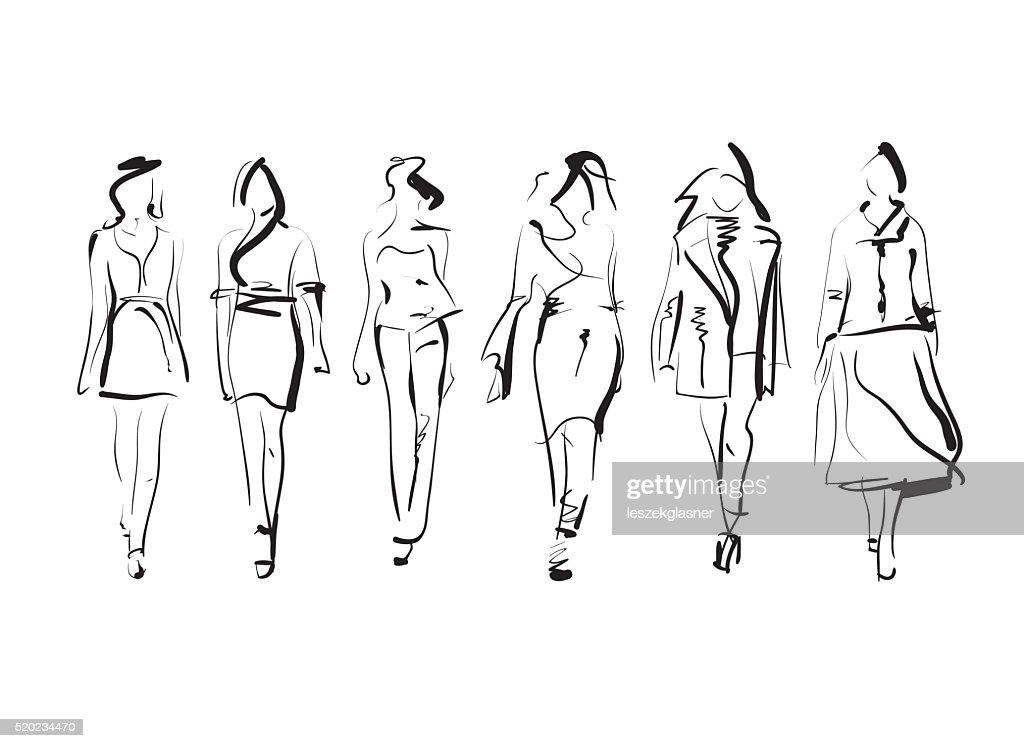 Set of fashion models sketch, vector illustration