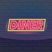 Set of fashion neon sign. Night bright signboard Dinner, Glowing light banner. Summer logo, emblem. Club or bar on dark background. Editable vector