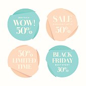 Set of fashion stickers sales and discounts.