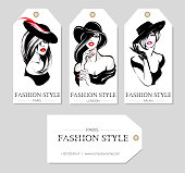 Set of fashion tags with beautiful black and white women wearing hats, sketch style, Paris, London, Milan business card, beauty girls hand drawn vector illustration