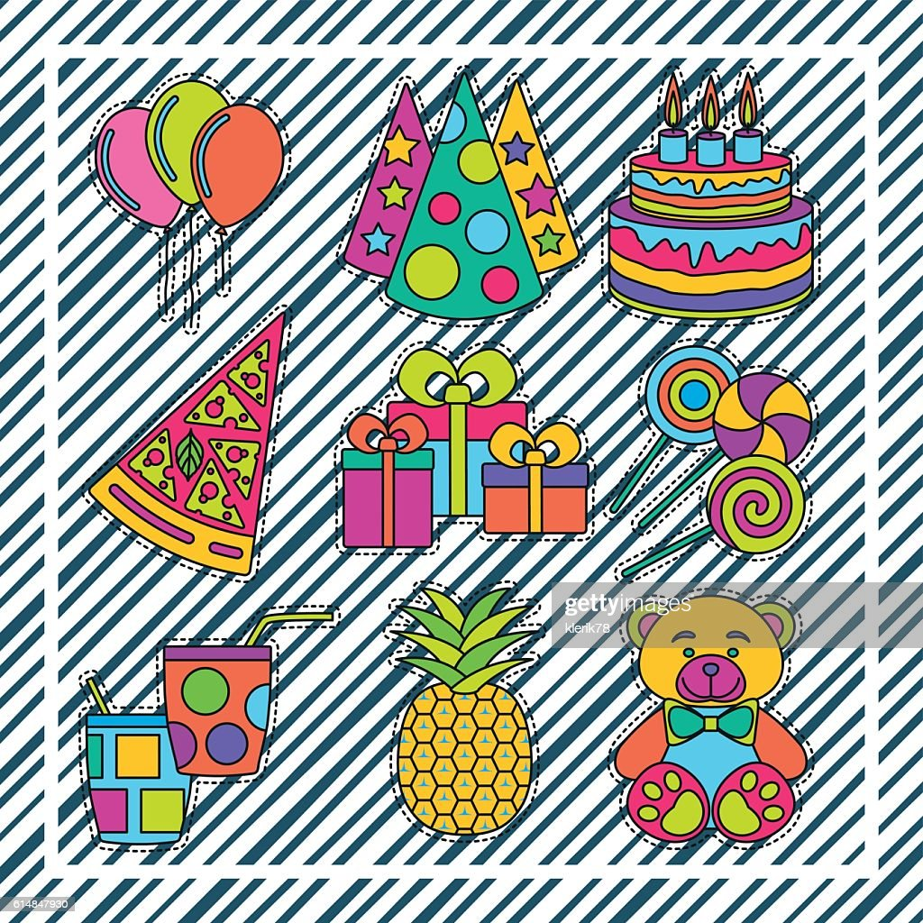 Set of fashionable cute patches elements on striped background
