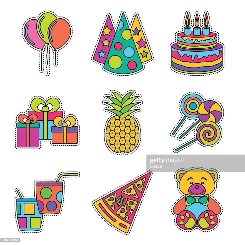Set of fashionable cute patches elements. Vector illustration