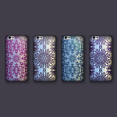 Set of fashionable floral ornaments for mobile phone cover, floral mandala. mobile phone case