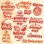 Set of Fast Food Calligraphic Labels