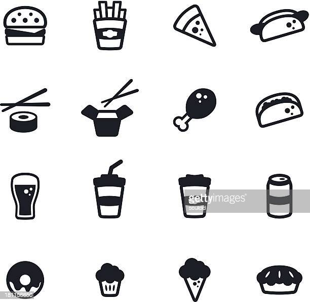 Set of fast food icons illustration