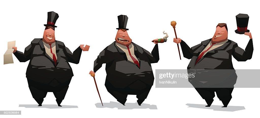 Set of fat businessmen