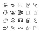 set of feedback icons, customer opinion, marketing research, review product