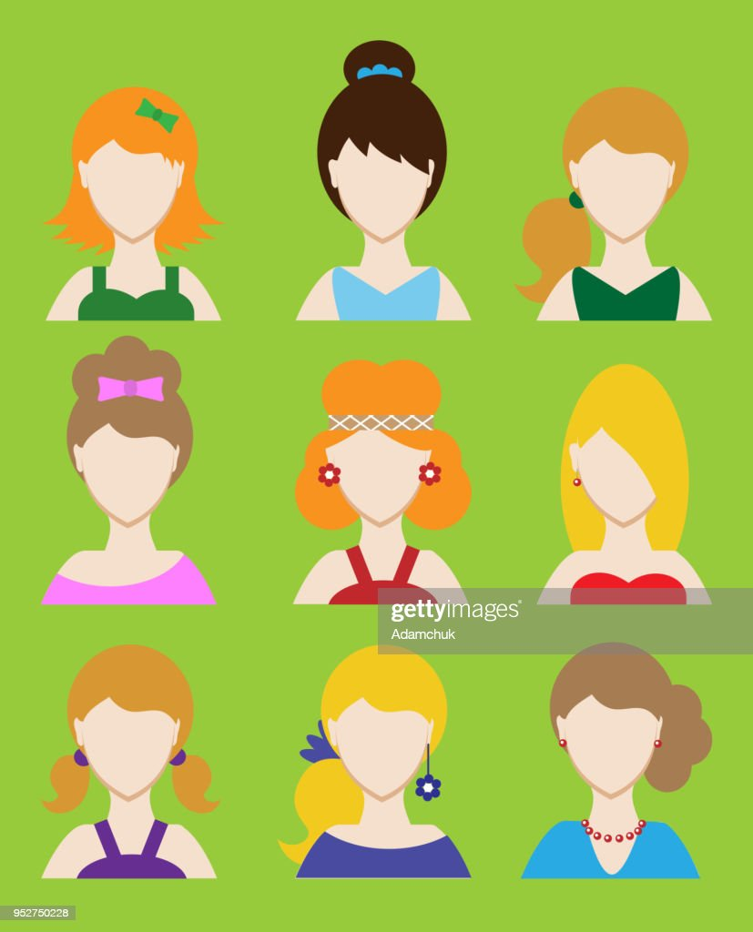 Set of female avatar or pictogram for social networks. Modern flat colorful style. Vector