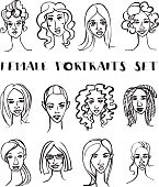 Set of female doodle hand drawn portraits. Black and white